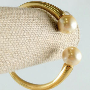 Kenneth Jay Lane gold cuff bracelet faux pearl